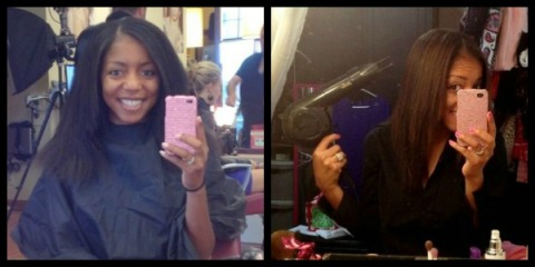 Left: PRE-Keratin blowdry; Right: POST-Keratin blowdry