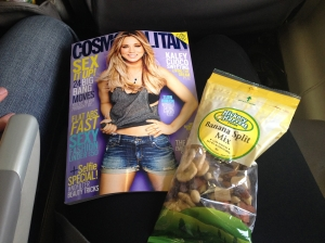Joe slept on the plane, so it was just me, my Cosmo and my trail mix!