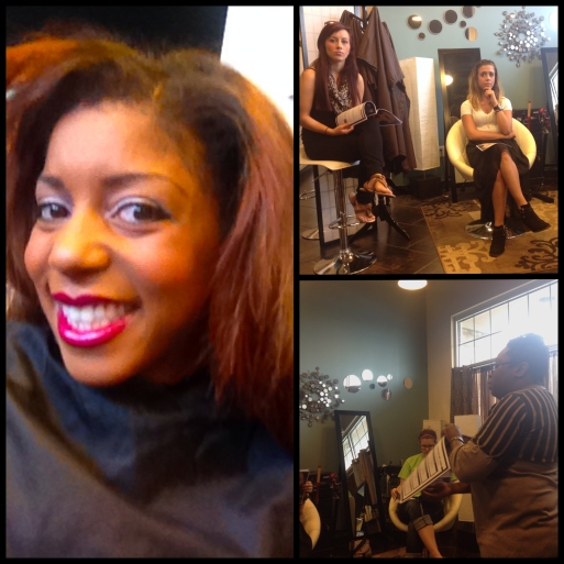 Before pic...and attentive stylists!