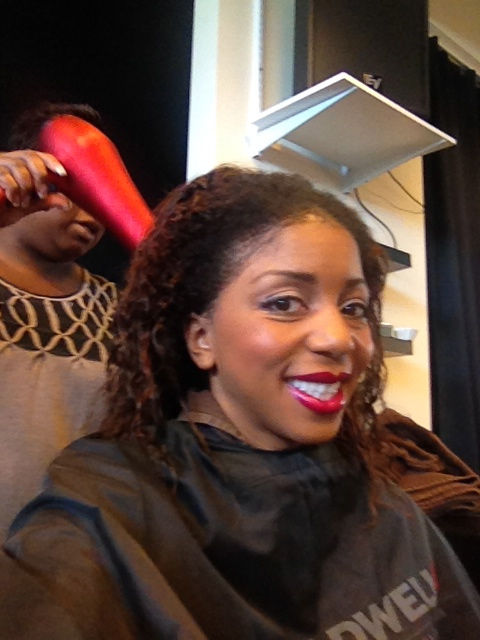 Taira blowdrying my hair!