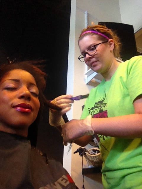Kelsey saturating my hair with Keratin!