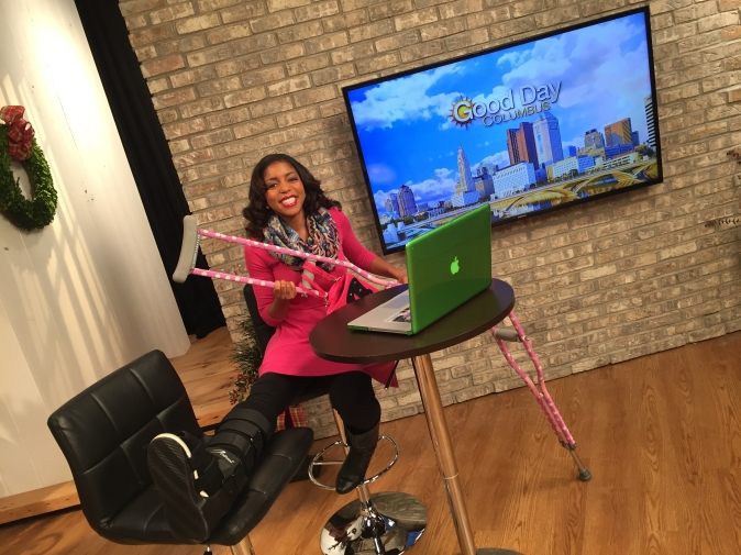 Back at work with my crutches!