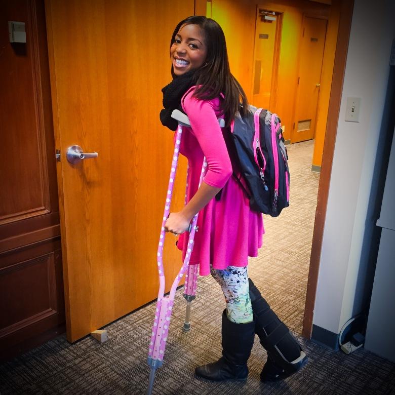 Crutches and bookbag