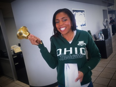 After purchasing my car, I got to ring the bell in the showroom! So fun!