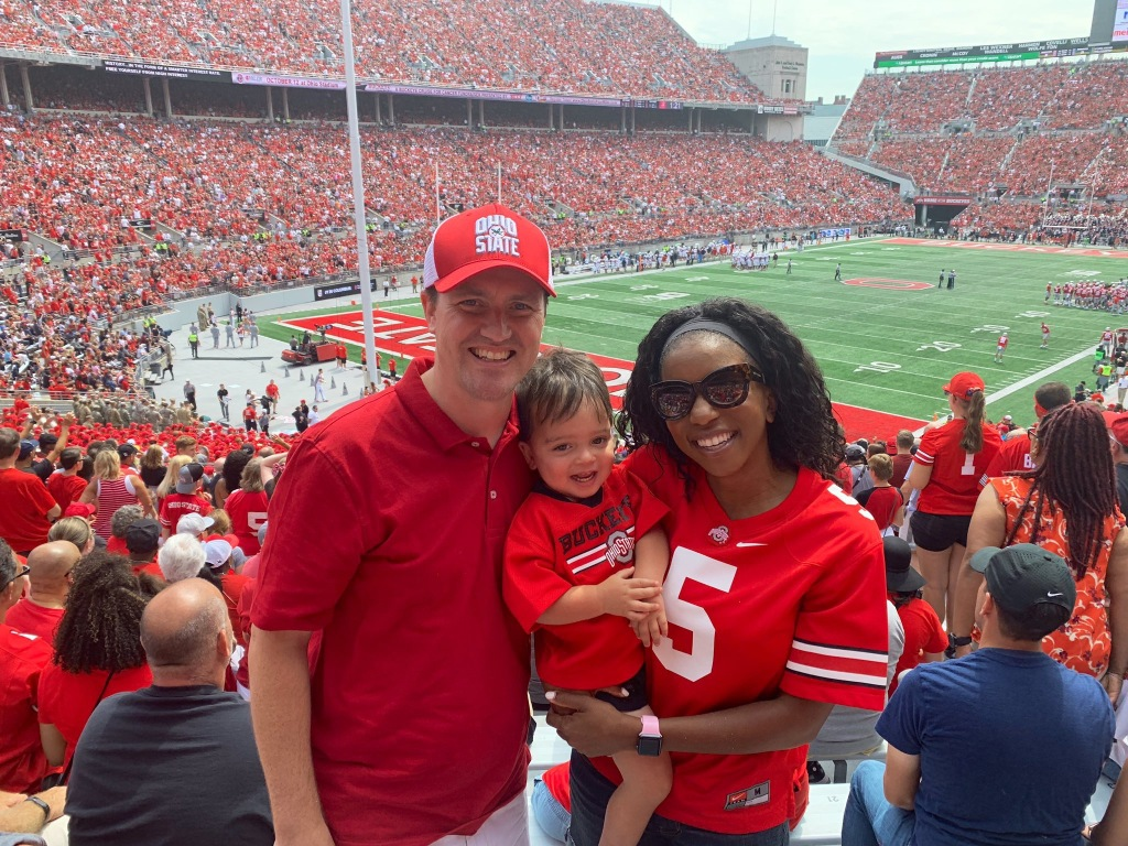 Photo of Joe, Alissa and Alexander at an OSU football game.